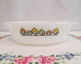 Anchor Hocking Fire King Oval Casserole Dish with Summerfield Flowers