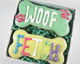 Woof Fetch Times Two Dog Treat Gift Box-All Natural Dog Treats, Iced Dog Treats, Peanut Butter Dog Treats, Iced Dog Bones, All Natural Bones