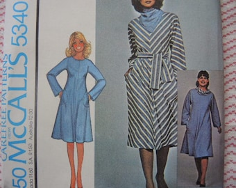 vintage 1970s McCalls sewing pattern 5340 misses dress with scarf or ring collar size medium UNCUT