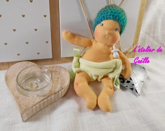 Tiny baby Waldorf 18 cm doll 100% eco-friendly, natural, fabric, environmental, organic, natural fibers.