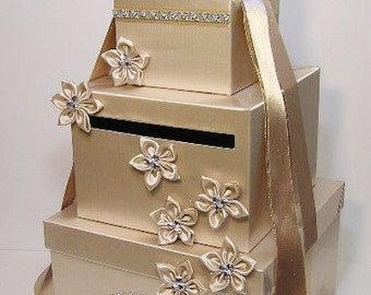 Wedding  Card Box Champagne Gift Card Box Money Box Holder-Customize your color