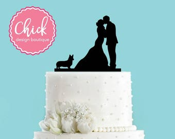 Couple Kissing with Welsh Corgi Dog Acrylic Wedding Cake Topper