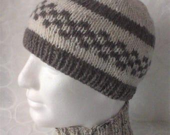 KINSALE Mans Handknit Cream and Brown Pure Wool Beanie/ Cream and Brown Mans Winter Wool Hat