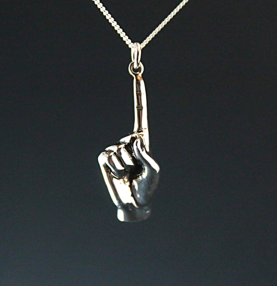 Number One, Best friend gift, index finger necklace, winners gift, best man gift, sterling silver hand carved, best team sign