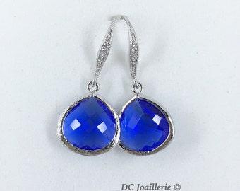 Cobalt Blue Drop Earrings Bridesmaid Earrings Cobalt Blue Earrings Bridesmaid Gift Bridal Party Gift Cobalt Blue Jewelry