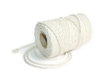 2.5 mm Cotton Rope= 1 Spool= 100 Meters = 110 Yards Natural and Elegant 100% COTTON Twisted CORD- Macrame cord - Not bleached - No chemicals
