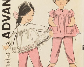 Toddler Girl Overalls and Smock Top Advance 9805 Sewing Pattern Size 1/2, Chest 19, Retro Long Sleeve Lacey Top for Little Girls