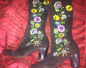 Jerry Edouard Penny Lane Hand Embroidered Vintage Hippy Boots
