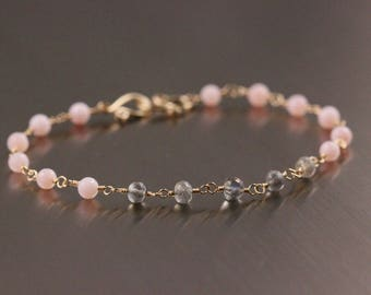 AAA Pink Peruvian Opal Bracelet, Labradorite Bracelet, October Birthstone, Pink and Gray, Rosary Wire Wrapped Bracelet
