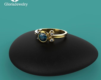 Natural Blue Sapphire Bezel Ring with Diamonds. Engagement and Birthday Sapphire Bezel Ring B6