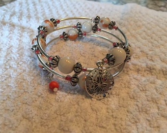 Coral and White Wrap Style Bracelet with Sand Dollar Charm