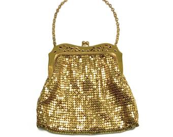 Whiting Davis Gold Mesh Handbag - Evening Handbag, Vintage Purse, Mesh Handbag, Vintage Mesh Purse, Vintage Handbag