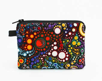 Vibrant Coin Purse, Padded Zip Pouch, Handmade Women's Small Wallet, Bright Small Zipper Wallet - colorful dots circles in black