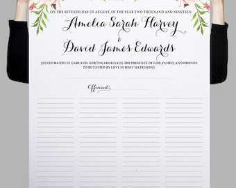 Printable Quaker Marriage Certificate, Alternative guest book, Wedding Guest Book sign, Marriage Contract, Watercolor pink floral - PF-18