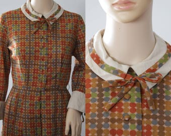 SALE - Cute 60s Minx Modes Brown/Green/Blue Dotted Dress