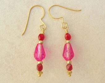 Pink and Ruby Red Glass Earrings, Gold Beads, by SandraDesigns