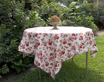 WAVERLY Arbor Rose Red Toile Tablecloth 52 x 54 French Toile Table Cloth Handmade Wedding Table Setting French Country Prairie Cottage