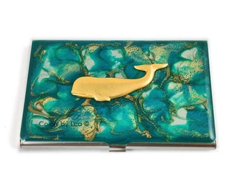 Business Card Case Whale Inlaid in Hand Painted Enamel Turquoise Quartz Inspired Credit Card Holder Custom Colors and Personalized Options