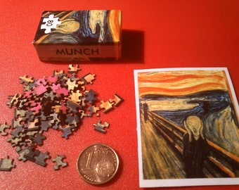 Dollhouse miniature real puzzle. It works. 80 pieces. The Scream - Edvard Munch