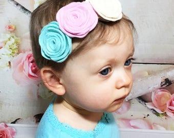 Felt Flower Headband Baby Headband Baby Girl Headband Nylon Headband Girls Headband Baby Felt Flower Headband Felt Flower Garland Headband