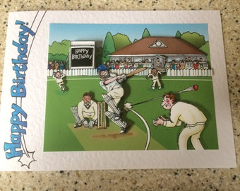 """Handmade Birthday card 3D decoupage humourous male cricketer cricket bowler 7"""" x 5"""" amusing funny comical"""