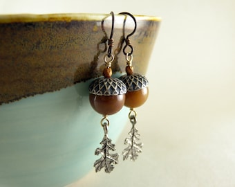 Caramel Jasper Acorns and Silver Oak Leaves Earrings with Free Shipping