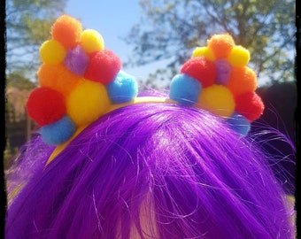 Pompom Ears Floral Crown Festival Headdress Ibiza Head Band Multicoloured