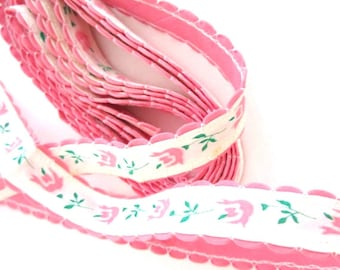 Vintage Trim Pink Silk Screen Tulip Flowers 3 Yards with Scalloped Edges