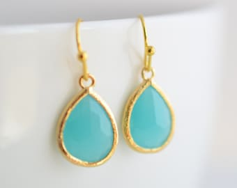 Mint blue earrings, Summer earrings, Gold earrings, Simple earrings, Clip earrings, Glass earrings, Bridal jewelry, Bridesmaid gift
