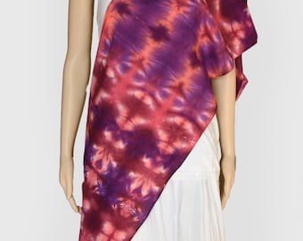 Tie Dye Scarf-Cotton Gauze Scarf- Linear, Lightweight Scarf, Purple and Pink