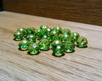 Bright Green Faceted Crystal Glass Rondelle Beads 8x6mm