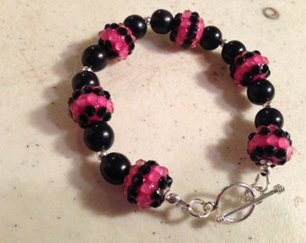Hot Pink Bracelet - Black Jewelry - Sterling Silver Jewelry - Beaded Jewellery - Fashion - Trendy - Chic