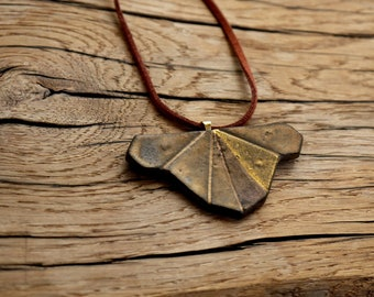 Statement Ceramic Necklace   Geometric   24 carat Gold detail   Faux suede   Clay   Handmade   Modern Ceramic Jewellery   Unique gift ideas