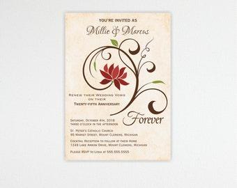 Vow Renewal Invitation, 10th, 20th, 25th, 30th, 50th, anniversary, wedding vow renewal invite, digital, printable, invite