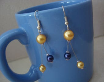 Earrings dangle blue purple and yellow