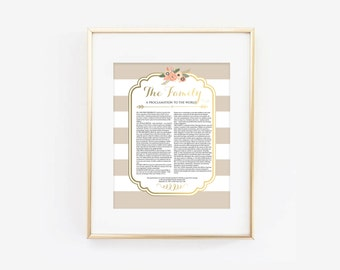 LDS Family Proclamation to the World Tan and Coral Floral Digital Printable Design