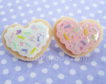 Glittery Sugar Cookie Heart Pin with Sprinkles (Pick One) Kawaii Fairy Kei Pastel