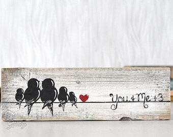 Bird Family Wood Sign 5th Anniversary Gift Rustic Wood Signs Reclaimed Wood Art Love Bird Painting Bird on a Wire Art Family of Five 5 Gift