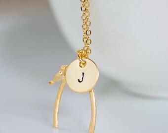 Gold Wishbone Necklace Wishbone Necklace, Lucky Charm Necklace,  Birthday Wish, Make a Wish, Wish Bone Necklace with Hand stamp disc.