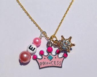 Girls princess necklace personalized princess necklace princess jewelry pink charm princess necklace crown necklace rhinestone pearl