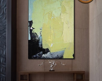 Abstract Painting, Yellow, Black, Large wall art, Hand painted art on canvas, Modern oil painting wall art
