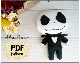 Jack Skellington pattern felt Halloween pattern Jack Skellington felt ornament DIY felt ornaments Halloween patterns DIY Halloween ornaments