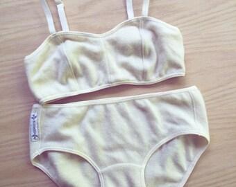 Cashmere bralette underwear set in natural off-white, custom lingerie