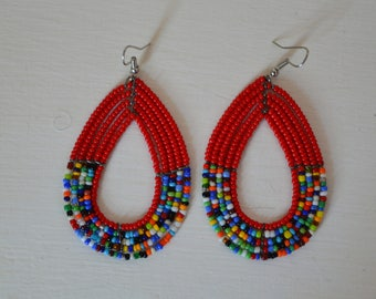African Maasai Beaded Hoop Earrings | African jewelry earrings | Tribal Earrings | Red hoop earrings | Ethnic Earrings | Gift for Her