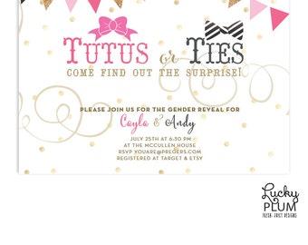 Tutus Ties Baby Shower Invitation / Gender Reveal Baby Shower Invite / Couple Coed Baby Shower Invite / Bowtie Necktie invite / Bunting
