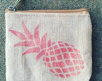 Pineapple Coin Purse, Coin Purse, Coin Pouch, Pineapple Cosmetic Bag, Pineapple Coin Pouch, Pink Pineapple, Pineapple Coin Sack, Bridesmaid