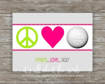 Set of 6 - 5 x 7 FLAT Golf note cards with envelopes-Peace Love Golf