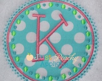 Dot Circle Frame Machine Embroidery Applique Design