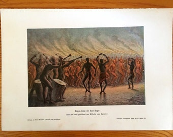 1900 WAR DANCE print antique original culture lithograph