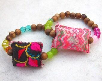 Boho wood bead bracelet, Hmong Hill Tribe textile bracelet, bohemian stacking bracelet, ibiza style bracelet, colorful tribal yoga bracelet